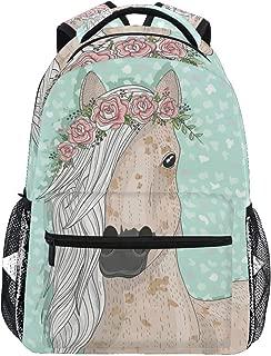 Flower Horse Backpack for Boys Kids Girls Backpacks for Elementary School Bags Cute Bookbag for Kids 3rd 4th 5th Grade
