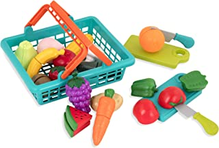 Battat – Farmers Market Basket – Toy Kitchen Accessories – Pretend Cutting Play..