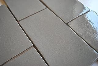 3x6 Gray Glossy Crackle Glazed Subway Ceramic Tile Backsplashes Walls Showers