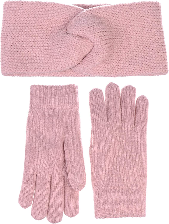 Winter Solid Toasty Warm Fleece Lined Knit Gloves & Headband 2 Piece Set