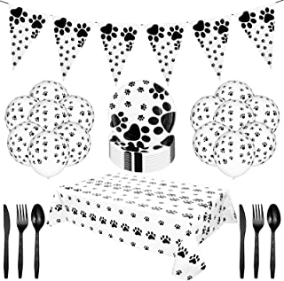 71 Pieces Dog Paw Prints Party Supplies Include Puppy Dog Pet Paw Print Plastic Tablecloth Table Cover Dog Disposable Tabl...