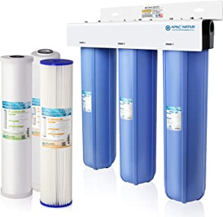 APEC 3-Stage Whole House Water Filter System with Sediment, KDF and Carbon Filters (CB3-SED-KDF-CAB20-BB)