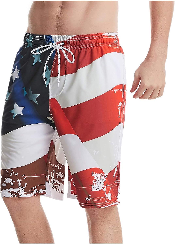 CHENQ 2021 Men's American Flag Print Independance Day Beach Short Pants