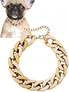 Posh Petz Gold Link Chain Necklace for Dogs - 27 cm - Tiny Bling for Small Dog or Puppy - Lightweight Braided Metal Look -...