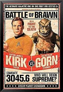Buyartforless Framed Star Trek - Captain Kirk vs The Reptilian Gorn 36x24 Art Print Poster Battle of Brawn