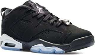 Nike Boys Air Jordan 6 Retro Low BG Chrome Black/Metallic Silver-White Leather