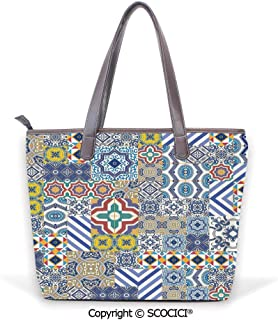 SCOCICI Satchel for Women Set of Floral Elements in Aquarelle Style Artistic Na