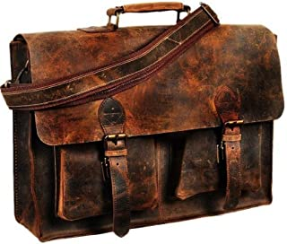 "Retro Buffalo Hunter Leather Laptop Messenger Bag Office Briefcase College Bag (18"")"