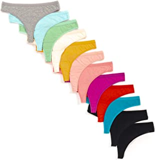 Alyce Intimates Women's Cotton Thong Panties, 12 Pack, Assorted Colors