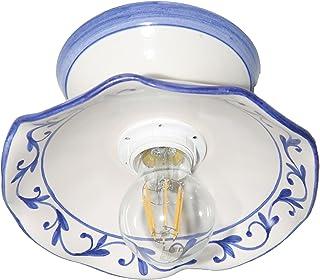 VANNI LAMPADARI - Lampada Da Soffitto o Parete Piatto onda piegato Diametro 20 In Ceramica Decorata A Mano Disponibile In ...