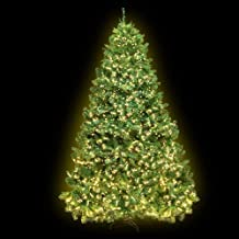 6FT LED Christmas Tree 1.8M Prelit Xmas Faux Green Tree w/ Warm White LED Jingle Jollys Holiday Lighted Decoration Indoor ...