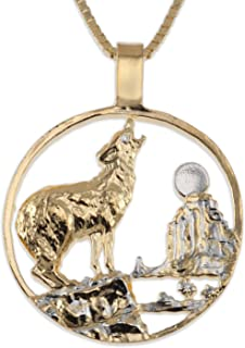The Difference World Coin Jewelry Wolf Pendant & Necklace, Private Mint Medallion Hand Cut