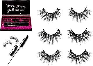 Magnetic Eyeliner and Eyelashes Kit Set   Naturally Looking Curved Eyelash   Waterproof & Long Lasting Eyelashes Extension   Reusable and No Glue   Set of 3   Black