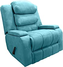 Rocking & Rotating Recliner Upholstered Chair with Controllable Back - Turquoise - AB07
