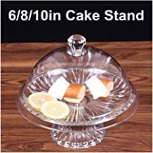 DGJ Acrylic Round Cake Stand with Cover, Food Dome Lid for Weddings Birthday Decor dgj58 (Size : 8inch)