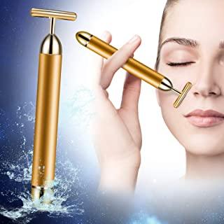 Beauty Bar 24k Golden Pulse Facial Massager, T Shape Energy Facial Roller Micro Vibrating Massager, Anti-Wrinkles, Skin Tightening, Face Firming, Eliminate Dark Circles