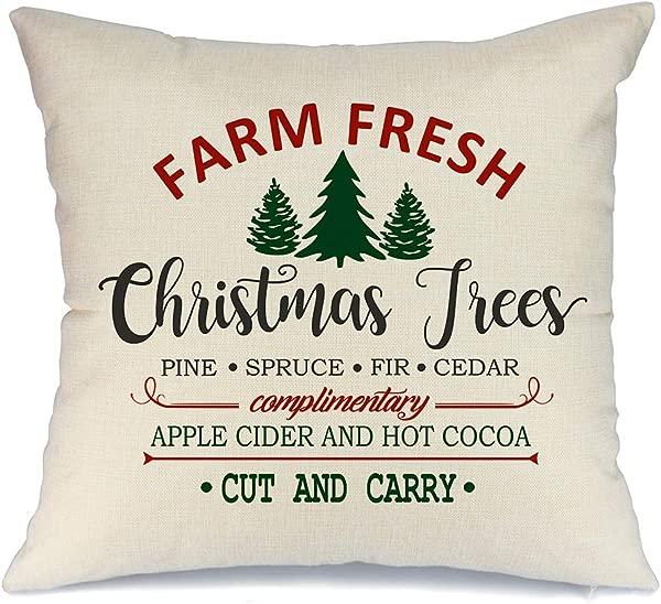 AENEY 圣诞枕套 18x18 沙发农场新鲜和圣诞树抱枕农舍装饰家居装饰圣诞节装饰枕套人造亚麻靠垫套沙发红色