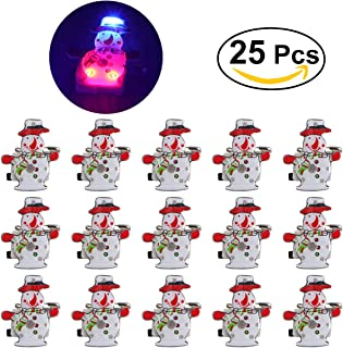 OULII Christmas Brooch Pin Badge LED Light Up Snowman Christmas Party Favors Pack of 25
