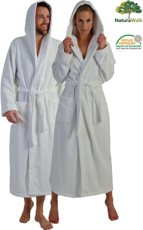 aus kontrolliert biologischem Anbau 100/% Bio Baumwolle NATURA WALK Bademantel Damen mit Kapuze