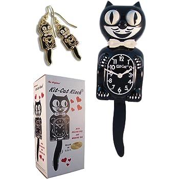 Kit Cat Klock Classic Vintage Black and Gold & Black Earrings Set