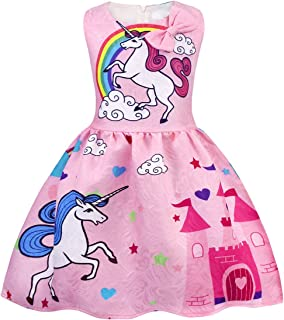 AmzBarley Girls Dresses Unicorn Costume Rainbow Dress Princess Birthday Party Casual Playwear Halloween Clothes Sleeveless Kids 2-10 Years