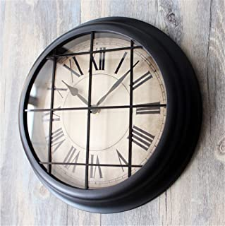 Wall clock Loft Industrial Wind bar decoration Silent Non Ticking Quality Quartz Battery Operated 12 Inch Round Easy to Read dining room coffee shop and bar iron bedroom Clock black