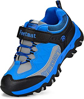 Feetmat Boys Hiking Shoes Waterproof Kids Sneaker Blue Size: 3.5 Big Kid