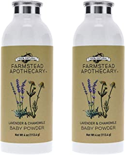 Farmstead Apothecary 100% Natural Baby Powder, Lavender Chamomile 4 oz (Pack of 2)