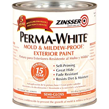 Rust Oleum Zinsser 31 5 Fl Oz Permawhite Exterior Semi Gloss House Paint Amazon Com