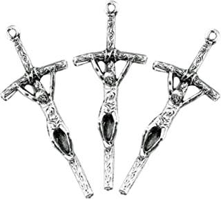 Silver Toned Base Papal Cross Crucifix Pendant for Prayer Rosary, Lot of 3, 1 1/2 Inch