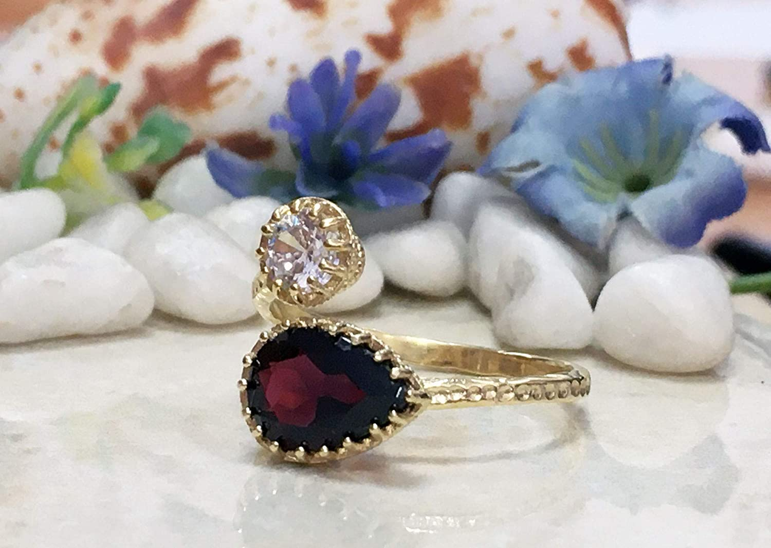 Ranking TOP20 Garnet Ring - Dual January Birthstone 2021 autumn and winter new Gemstone Two