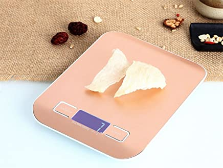 Digital Kitchen Weighing Scales Mini Food Scales, Electric Jewelry Scales, Cooking Scales Tray, LCD Display Stainless Steel Ingredients Jewelry Coffe Batteries Included (5Kg, 1G),Gold