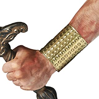 OvedcRay Adult Roman Warrior Greek Gladiator Egyptian Costume Wrist Arm Cuff Guard Gold