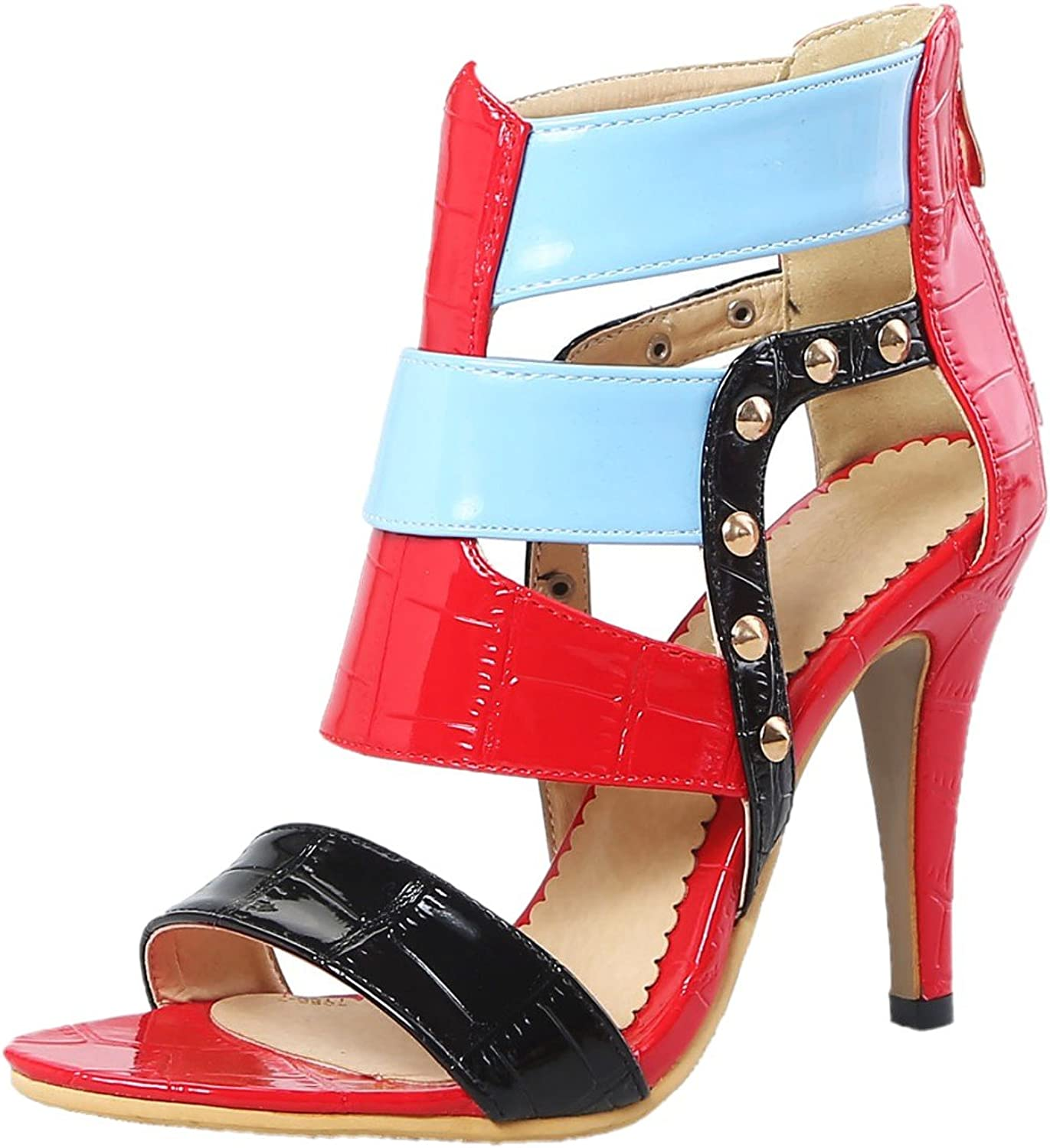 Rongzhi Womens Rivets Heeled Sandals Stilettos Ankle Strap Zip High Heels Dress Party shoes Open Toe