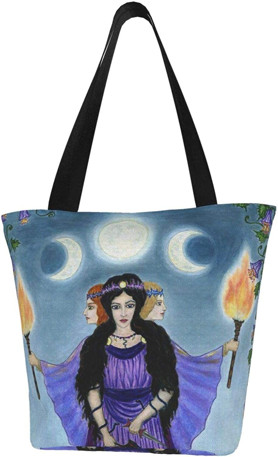 Wicca Wiccan Triple Moon Goddess Fire Themed Printed Women Canvas Handbag Zipper Shoulder Bag Work Booksbag Tote Purse Leisure Hobo Bag For Shopping