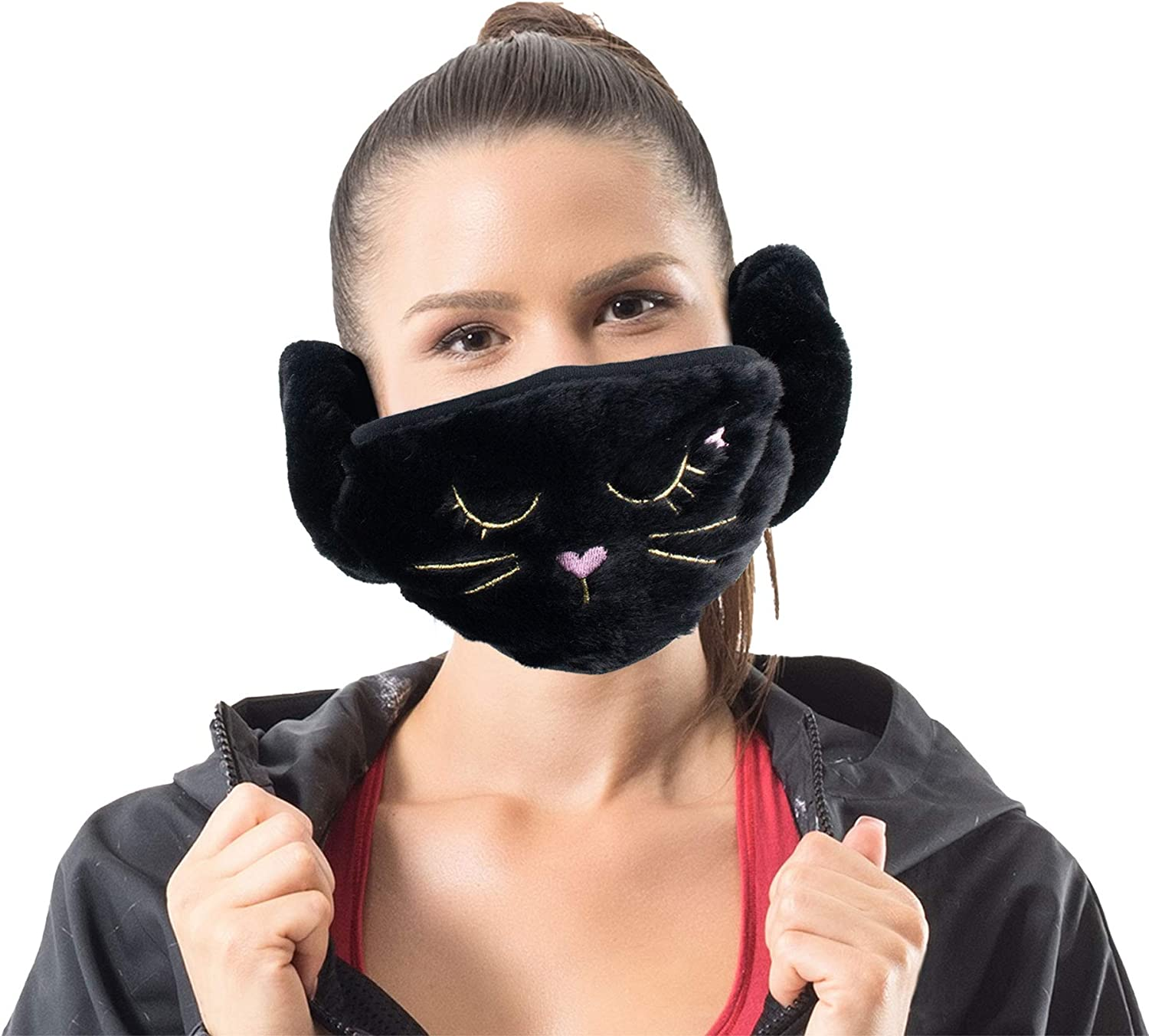 Mad Mask 2-in-1 Faux Fur Kitty Omaha Mall Face Earmuffs Plu Warm Classic with