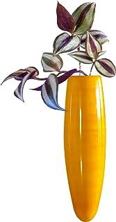 Maya Organic Wood Handcrafted Magnetic Fridge Side Vase - Yellow, 17 cm X 4 cm X 4 cm