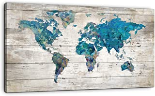 Yiijeah Abstract Watercolor Blue World Map Canvas Wall Art Prints for Living Room Office Large Teal White Watercolor World Map Picture Framed Artwork Decor for Home Bedroom Decoration