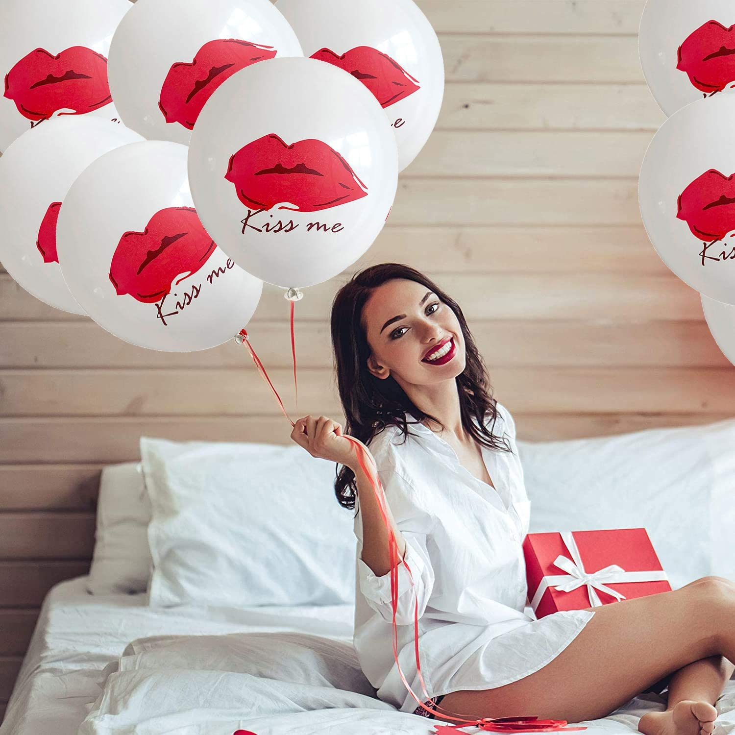 Kiss Red Lip Lipstick Balloons Kit,2 Pcs Lip-Kiss Shaped Mylar Foil Balloons and 20 Pcs Latex Red Lip Balloons for Valentines Day Decorations,Girls Day Beauty,Spa Party Supplies
