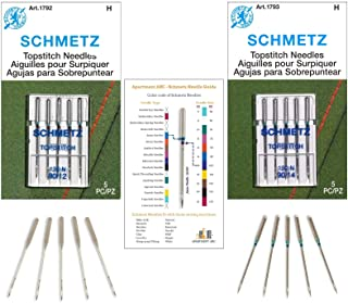 Topstitch Sewing Machine Needles Variety Pack for Topstitching, and Decorative Stitching, with Long Eye, Compatible with M...