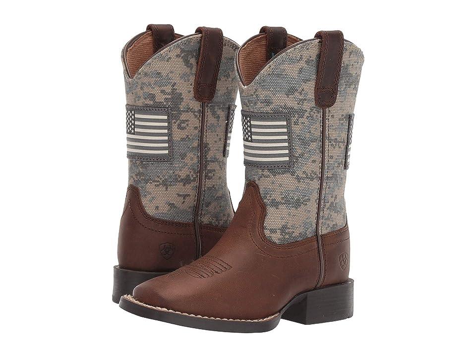 Ariat Kids Patriot (Toddler/Little Kid/Big Kid) (Distressed Brown/Sage Camo Print) Cowboy Boots