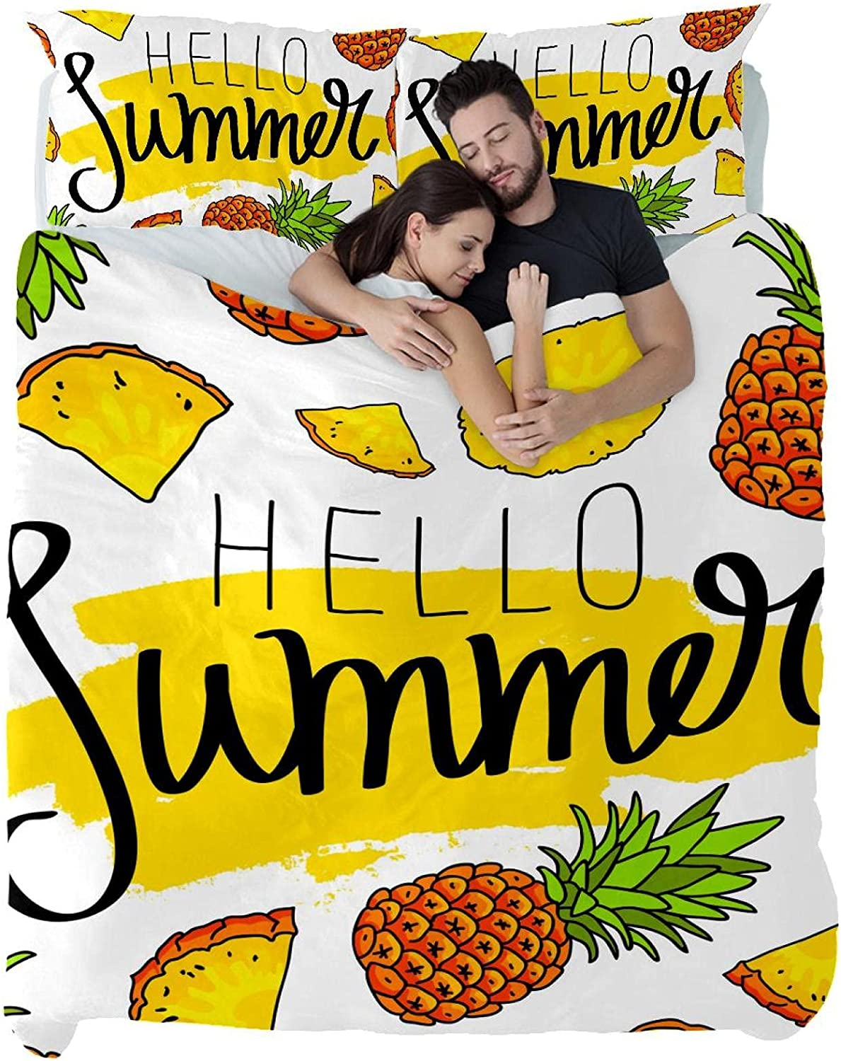 Hello Summer Tropical Pineapple Fruit Se Covers Duvet Ranking TOP3 Queen Ranking TOP3 Size