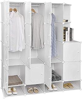 Placard pliant, armoire portable des vêtements Organisateur Armoire pour petits espaces, étagères de rangement Cabinet mod...