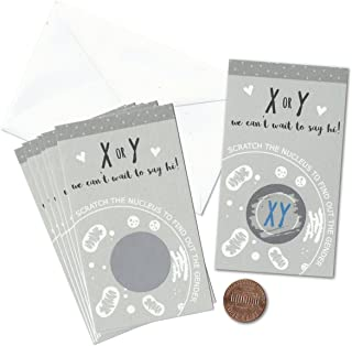 X or Y Chromosome Science Gender Reveal Mini Scratch Cards (Pack of 24) by Nerdy Words | Scratch The Nucleus Baby Announcement (Blue-Boy-XY)