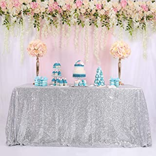BalsaCircle Fathers'Day Gift Sequin Silver Sequin Table Cloth for Party Banquet-72X72Inch