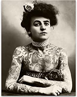 Lone Star Art Maud Wagner Tätowierte Dame Portrait – 28 x