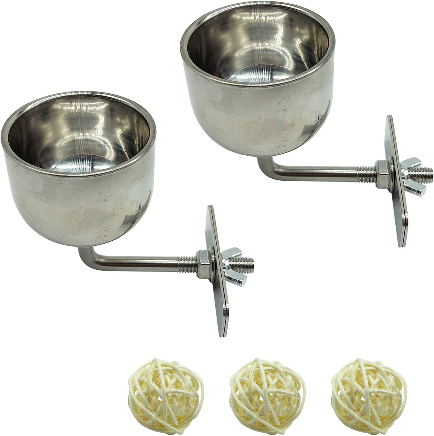 Bird Stainless Boston Mall Steel Food Bowl with Feeding Cups New York Mall Balls 3 Willow