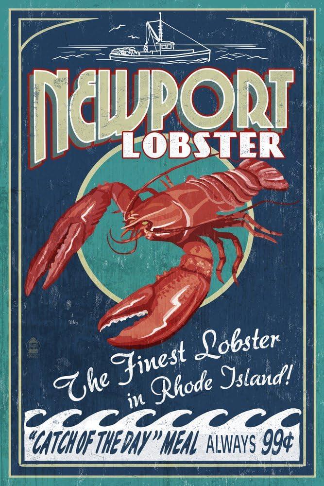 Newport 5% OFF Rhode Virginia Beach Mall Island - Lobster Giclee 36x54 Galle Vintage Sign