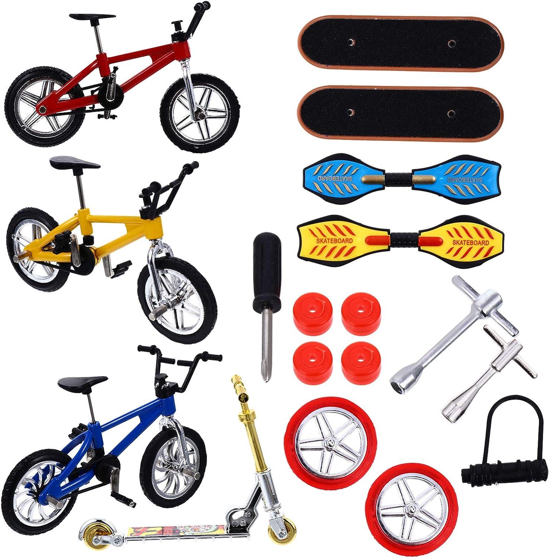 Kisangel 18 Pcs Mini Fresno Department store Mall Finger Bik Set Tiny Toys Skateboards
