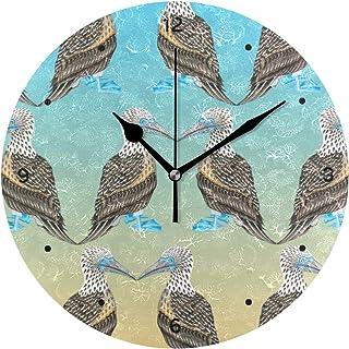 インテリア 掛け時計 サイレント キッズ 子供 部屋 簡単 青足ブービーパターン柄 子供 置き時計 おしゃれ 北欧 時計 壁掛け 連続秒針 電池式 [並行輸入品]